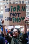 Inform not conform. Occupy Wall Street, October 2011. Photo by Len T.