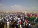 Tens of thousands gather in the Jordan Valley overlooking Occupiled Palestine as part of the Global March to Jerusalem (GM2J) on Palestinian Land Day.