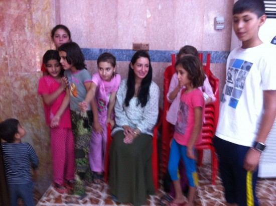 Kali Rubaii with Yazidi children in Iraq