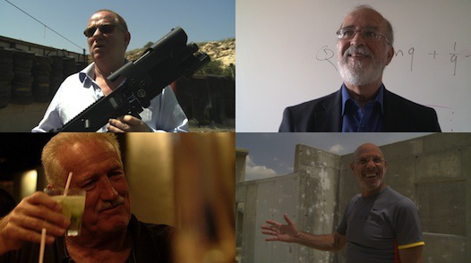 """Four heroes of """"The Lab"""". From top left corner clockwise: Amos Golan, Shimon Nave, Yitzhak Ben Yisrael, Leo Gleser"""