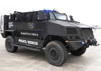 Military Bearcat on its way to the Santa Cruz Police Department