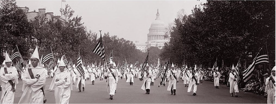 Some of the 50,000 Ku Kluxxers who marched in Washington, D.C., on August 8, 1925.