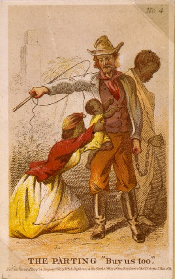 In this artistic rendering by Henry Louis Stephens, a well-known illustrator of the era, a family is in the process of being separated at a slave auction. (Library of Congress)
