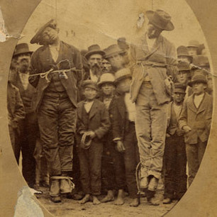 "Arias and Chamales hang while the crowd looks on. ""Two Mexicanos Lynched in Santa Cruz, California, May 3, 1877"""