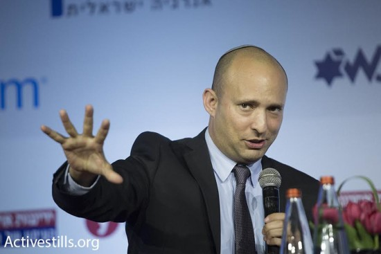 Education Minister Naftali Bennett speaks at Yedioth Ahronoth's Stop BDS conference, Jerusalem, March 28, 2016. Photo by Oren Ziv/Activestills.org